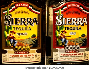 KIEV, UKRAINE - Sept 14, 2018: Sierra Tequila in the store .The Destilería Sierra, located on a historical Hacienda in Guadalajara, the capital of Tequila, is home of the award winning Sierra Tequila.