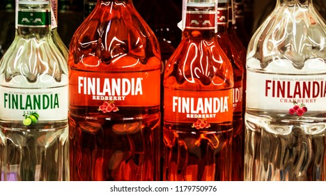 KIEV, UKRAINE - Sept 14, 2018: Various Finlandia vodka.  Finlandia is a vodka produced in Finland from Finnish-grown six-row barley and glacial spring water.