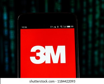 KIEV, UKRAINE Sept 15, 2018: 3M Manufacturing company logo seen displayed on smart phone.