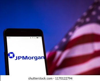KIEV, UKRAINE - Sept 2, 2018: JPMorgan Chase logo seen displayed on smart phone. According to the New York Stock Exchange (NYSE), the company is on the nineth place at the market value $390,3 billions