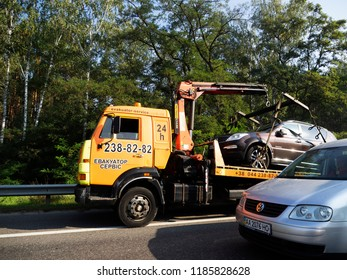 KIEV, UKRAINE Sept 22, 2018: Loading a car damaged in a road accident for transportation to the service on the Boryspil-Kiev highway