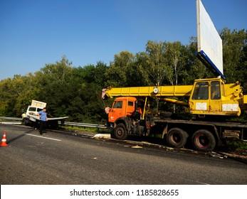 KIEV, UKRAINE Sept 22, 2018: Road accident of truck crane and truck on the highway Boryspil - Kiev
