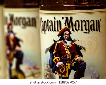 KIEV, UKRAINE Sept 26, 2018: Originated on US Virgin Islands Captain Morgan is a brand of rum produced by Diageo, British multinational alcoholic beverages company headquartered in London