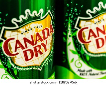 KIEV, UKRAINE Sept 26, 2018: Cans of Canada Dry Ginger Ale. John J. McLaughlin formulated his Ginger Ale to be less sweet than others and as a result, he labeled it dry.