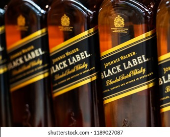 KIEV, UKRAINE Sept 26, 2018: Black Label whiskey on store shelf. Black Label (Scotch whiskey), founded by Johnnie Walker in 1867.