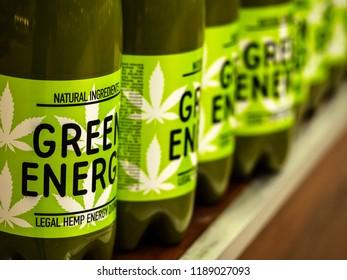 KIEV, UKRAINE Sept 26, 2018: Cannabis Energy Drink on store shelf.