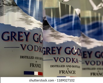 KIEV, UKRAINE Sept 26, 2018: Grey Goose brand vodka on store shelf. Produced in France and sold it in 2004 to Bacardi.