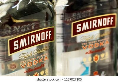 KIEV, UKRAINE Sept 26, 2018: Bottles of Smirnoff vodka. Smirnoff vodka is one of the most popular vodka brands in the world.