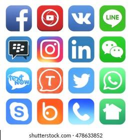 Kiev, Ukraine - SEPTEMBER 05, 2016: Popular social media icons such as: Facebook, Twitter, Vkontakte, Linkedin, instagram, Skype, Tango, WeChat, Nextdoor, WhatApp and others, printed on white paper.