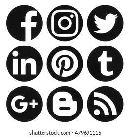 Kiev, Ukraine - September 06, 2016: Collection of popular circle black social media logos printed on paper:Facebook, Twitter, Google Plus, Instagram, Pinterest, LinkedIn, Blogger, Tumblr and RSS