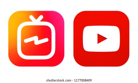 Kiev, Ukraine - September 07, 2018: Instagram TV and Youtube icons printed on white paper. IGTV is an Instagram's new video app & youTube's new competitor.
