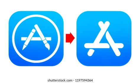 Kiev, Ukraine - September 07, 2018: Old AppStore and new App Store icons printed on paper. App Store is a digital distribution platform, developed and maintained by Apple Inc.