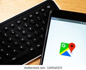 KIEV, UKRAINE - September 1, 2018: The Google Map logo seen displayed on a smart phone