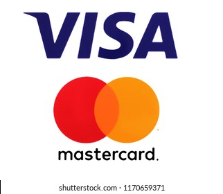Kiev, Ukraine - September 1, 2018: Visa and Mastercard logos printed on white paper. Visa and Mastercard are an American multinational financial services corporations