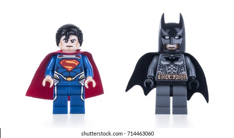 Kiev, Ukraine - September 10; 2017: Batman and Superman minifigures isolated on white background. Studio shot.