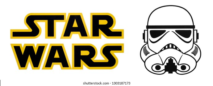 Kiev, Ukraine - September 11, 2018: This is a photo of Star Wars and Stormtrooper logos printed on paper and placed on white background.
