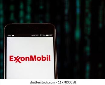 KIEV, UKRAINE - September 12, 2018: Exxon Mobil logo seen displayed on smart phone