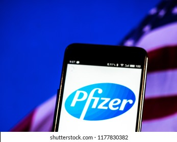 KIEV, UKRAINE - September 12, 2018: Pfizer logo seen displayed on smart phone