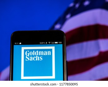 KIEV, UKRAINE - September 12, 2018: Goldman Sachs logo seen displayed on smart phone