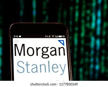 KIEV, UKRAINE - September 12, 2018: Morgan Stanley logo seen displayed on smart phone