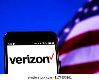 KIEV, UKRAINE - September 12, 2018: Verizon logo seen displayed on smart phone