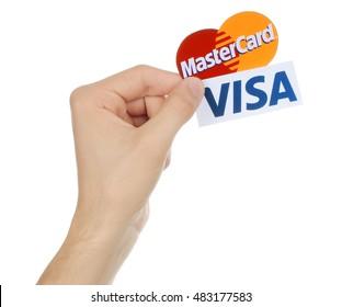 Kiev, Ukraine - SEPTEMBER 13, 2016: Popular payment system logos printed on white paper: MasterCard and Visa