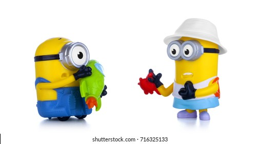 Kiev, Ukraine - September 13, 2017: Minions toys isolated on white. Minions is a character from Despicable Me 3, animated 3D film produced by Universal Pictures.