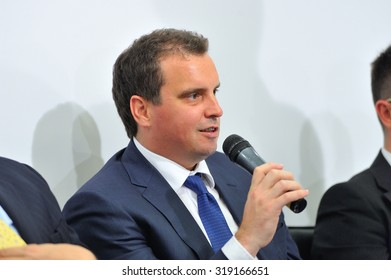 KIEV, UKRAINE, September 14, 2015: Aivaras Abromavicius, Minister of Economic Development and Trade, at a press conference shares his vision for the further development of economy of Ukraine