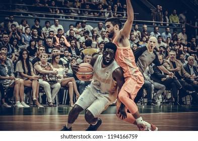 KIEV, UKRAINE - September 14, 2018: Eugene Jeter against Jaime Fernandez  during the FIBA Basketball World Cup 2019 European Qualifiers between the national team of Ukraine and Spain, Ukraine