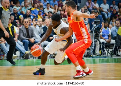 KIEV, UKRAINE - September 14, 2018: Eugene Jeter against Jaime Fernandez  during the FIBA Basketball World Cup 2019 European Qualifiers between the national team of Ukraine and Spain, Ukraine