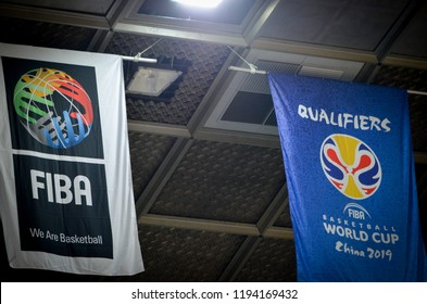 KIEV, UKRAINE - September 14, 2018: Logo and amblem FIBA Basketball World Cup 2019 during the FIBA Basketball World Cup 2019 European Qualifiers between the national team of Ukraine and Spain, Ukraine