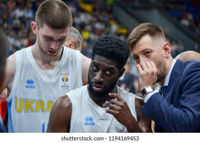 KIEV, UKRAINE - September 14, 2018: Eugene Jeter during the FIBA Basketball World Cup 2019 European Qualifiers between the national team of Ukraine and Spain, Ukraine