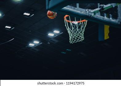 KIEV, UKRAINE - September 14, 2018: Basketball hoop with net close up during the FIBA Basketball World Cup 2019 European Qualifiers, Ukraine