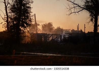 Kiev, Ukraine - September 14, 2019:Burning building / beach club / house / bar. Firefighters extinguish a fire. Lifeguards.
