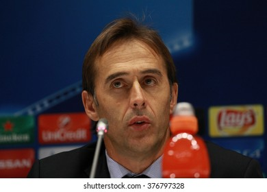 KIEV, UKRAINE - September 16, 2015: The head coach of Porto Julen Lopetegui after the UEFA Champions League game with DYNAMO KIEV at NSC Olimpiyskiy stadium