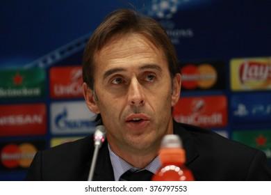 KIEV, UKRAINE - September 16, 2015: The head coach of Porto Julen Lopetegui after the UEFA Champions League game with DYNAMO KIEV at NSC Olimpiyskiy stadium