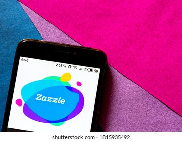 Kiev, Ukraine, September 16, 2020. Editorial illustrative. In this photo illustration  a Zazzle logo is seen displayed on a smartphone