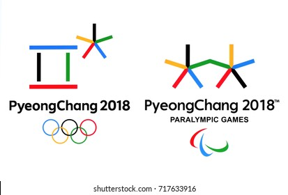 Kiev, Ukraine - September 18, 2017: Official logos of the 2018 Winter Olympic Games in PyeongChang, Republic of Korea, from February 9 to February 25, 2018, printed on paper