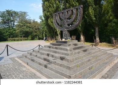 KIEV - UKRAINE SEPTEMBER - 18,  2018: Holocaust. А menorah memorial in Babi Yar Holocaust Memorial Center.