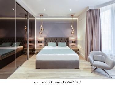 Kiev, Ukraine - september, 18, 2018. Modern master bedroom interior
