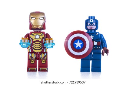 Kiev, Ukraine - September 19; 2017: Iron Man and Captain America minifigures isolated on white background. Studio shot.