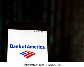 KIEV, UKRAINE - September 2, 2018: The Bank of America logo seen displayed on smart phone.