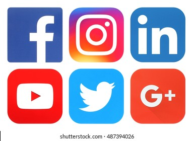 Kiev, Ukraine - September 20, 2016: Collection of popular social media logos printed on paper:Facebook, Twitter, Google Plus, Instagram, LinkedIn and YouTube