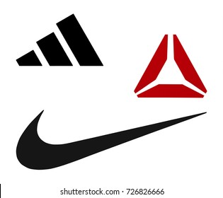 Kiev, Ukraine - September 20, 2017: Nike, Reebok and Adidas logos printed on paper and placed on white background.