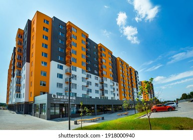 Kiev, Ukraine, September 20, 2020, New apartment building, new building. New block of modern apartments with balconies and blue sky in the background