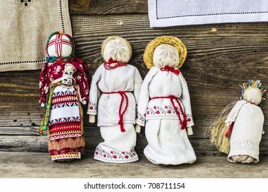 KIEV, UKRAINE - September 2017: Traditional Ukrainian ragdolls (kukla-motanka). Moppets decorated in Ukrainian style and embroidery on the market in Ukraine. Ukrainian souvenir rag-doll.