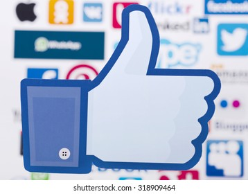 KIEV, UKRAINE - SEPTEMBER 21, 2015: Facebook like logo for e-business, web sites, mobile applications, banners, printed on paper and placed on of social media  background. Social network facebook sign