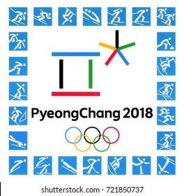 Kiev, Ukraine - September 22, 2017: Official logos of the 2018 Winter Olympic Games with kinds of sport in PyeongChang, Republic of Korea, from February 9 to February 25, 2018, printed on paper