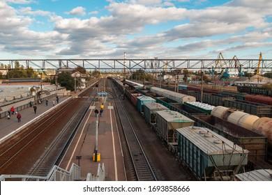 Kiev, Ukraine - September 22, 2019. Transport railway station. Peron for passengers of the city electric train.