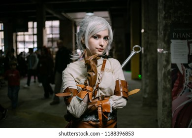 Kiev, Ukraine - September 23, 2018: Comic Con Ukraine, annual conference of fandoms in Ukraine. Young people in costumes during the comics festival. Cosplay Marvel / DC. Cosplayers in costumes.